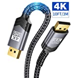 DisplayPort to DisplayPort Cable 10ft, JSAUX 1.2 DP Cable (4K@60Hz, 2K@165Hz, 2K@144Hz) Gold-Plated Braided Ultra High Speed DisplayPort Cord for Laptop PC TV etc- Gaming Monitor DP Cable (Grey) (Color: Grey, Tamaño: 10ft)