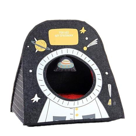 Mzdpp Lujo Fieltro Mascota Iglú Cueva Astronauta Impresión Desmontable Cama De Perro Caliente Gato Nido Negro