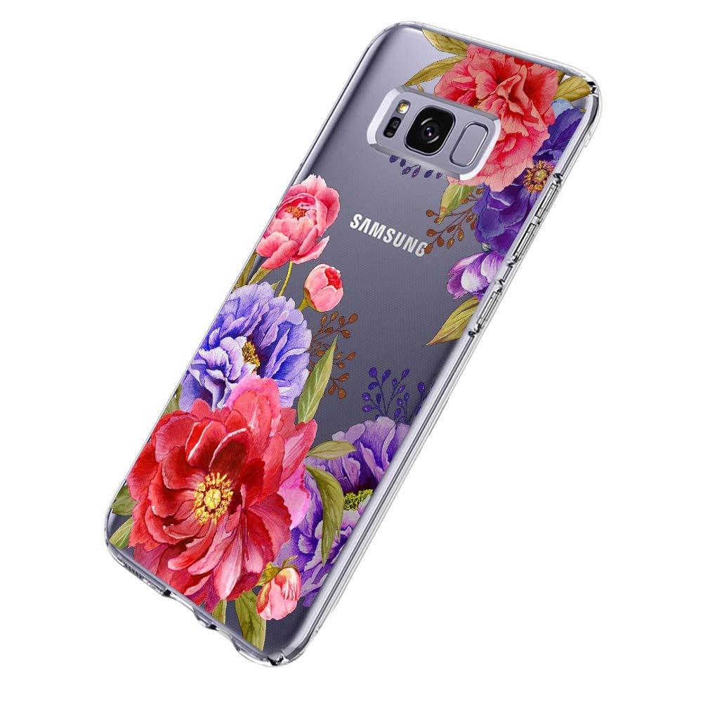 Samsung Galaxy S8 Hü lle, Clear Soft TPU Silicone Stoß dä mpfend Anti-Scratch Bumper Hü lle fü r Samsung Galaxy S8 Plus - Flower