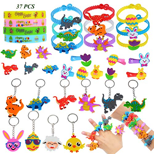 Dinosaur Birthday Party Supplies, Easter Theme Party Favor Assorted Kit,Bracelets Wristband,Hair Clips,Rings and Keychains Girls Boys Bulk Toys for Carnival Prizes for ()
