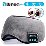 lluzx Bluetooth Sleep Mask, Sleeping Mask Wireless Music 4.2 Bluetooth Headphones with Built-in Speaker Microphone, Washable Eye Mask Cover for Travel, Sleeping, Meditation and Noise Cancel (Gray)