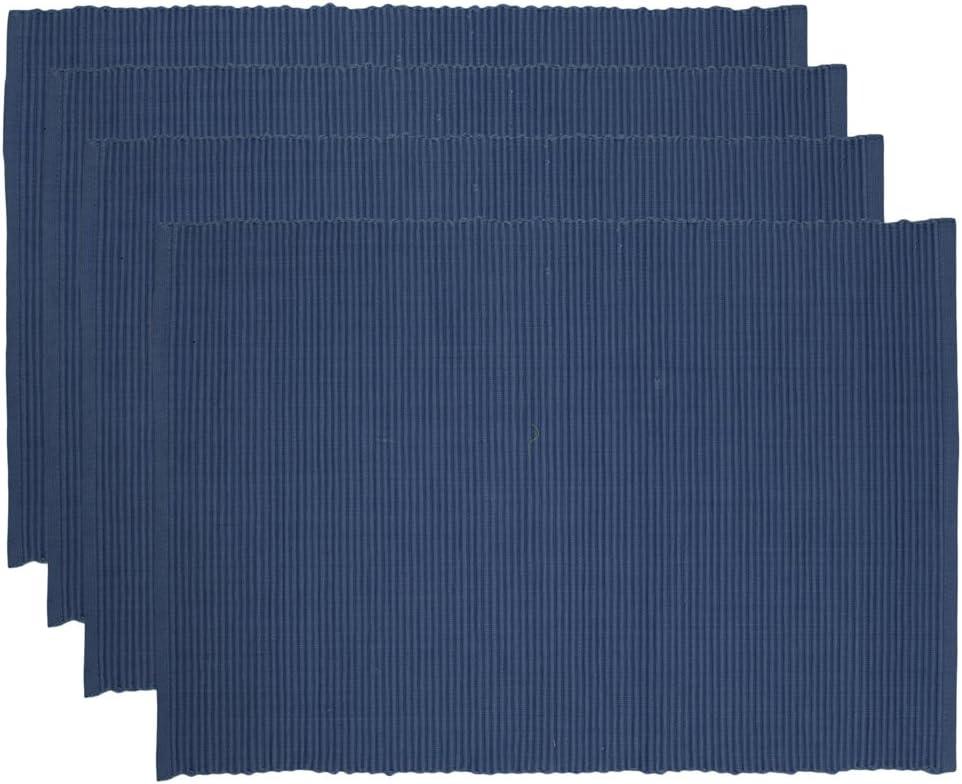 Now Designs Spectrum Basic Cotton Placemats, Set of Four, Indigo