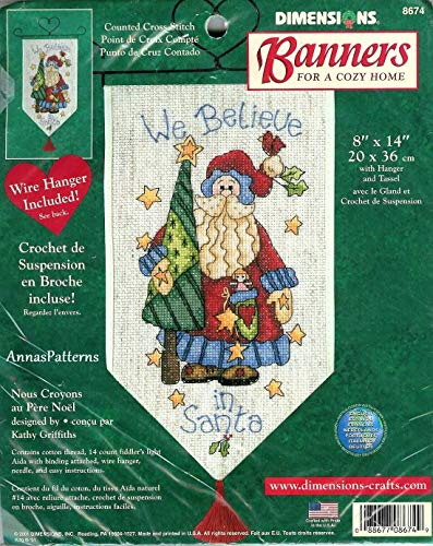 Dimensions Banners We Believe in Santa Wire Hanger Cross Stitch Kit 8674 ()
