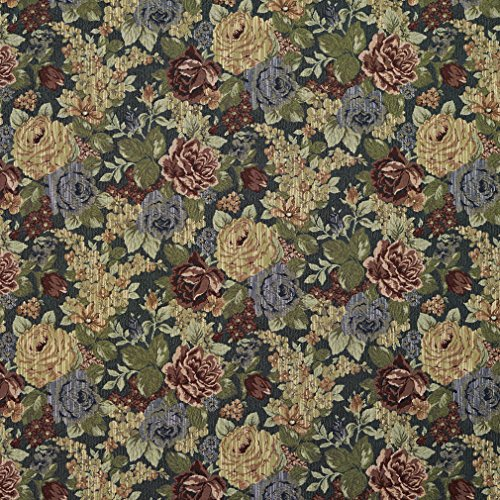 F925 Blue Red and Green Floral Tapestry Upholstery Fabric by The Yard