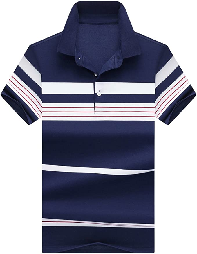 RENHONG Camiseta Blanca Raya Roja Azul De Los Hombres Solapa ...