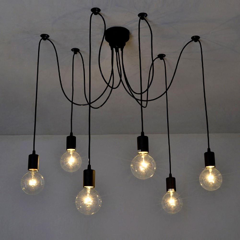 pendant lighting edison bulb. signstek retro industrial chandelier vintage edison light bulb pendant lighting multiple adjustable diy ceiling lampshade black 6 bulbs amazonca home u0026 d