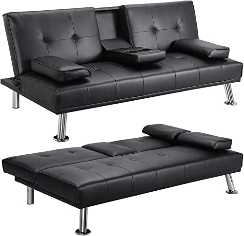 Convertible Sofa Couch Faux Leather,JULYFOX Recliner Lounge Futon Couch for Living Room with 2 Cup Holders Removable Armrest,Black