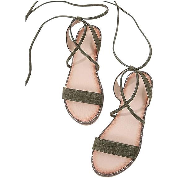 Zhuhaixmy Flache Sandalen mit Schnürung für Damen, Verstellbarer Knöchelriemen Sommer Gladiator Schuhe im Römischen Stil
