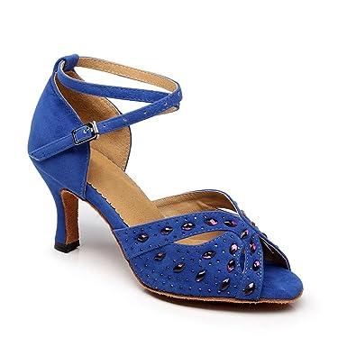 misu - Zapatillas de danza para mujer azul azul, color rojo, talla 41