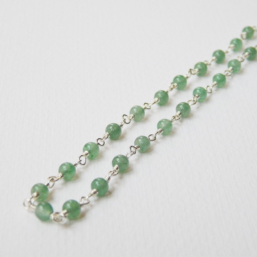 a61b27cd460fe Amazon.com: Green Aventurine Necklace in Sterling Silver: Handmade