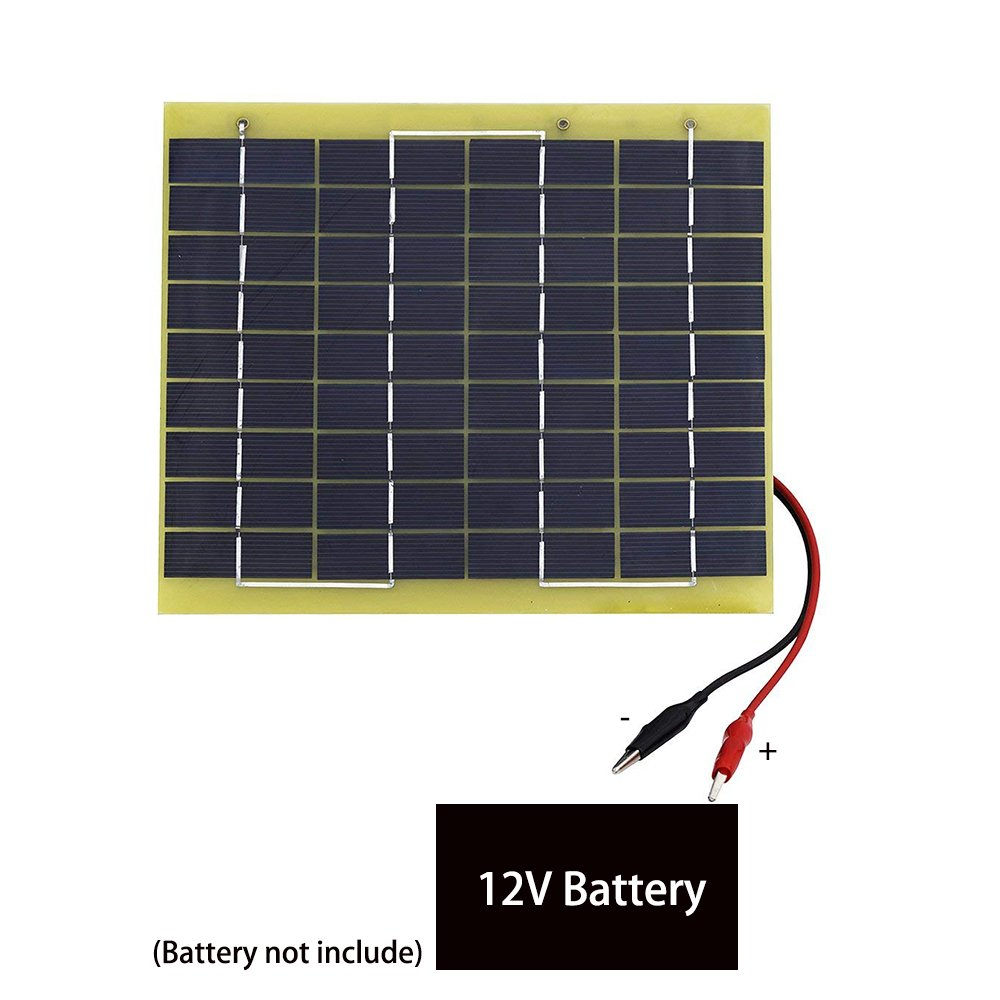 ECO LLC 5W 12V Waterproof Epoxy Solar Panel Module Battery Charging With Battery Clips Fit for Outdoors