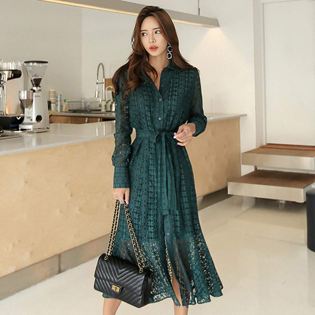 Women Ladies Office Lace Sexy Long Sleeve Tie Up Button Down Mermaid Flare Dress Green by LUXISDE (Image #8)