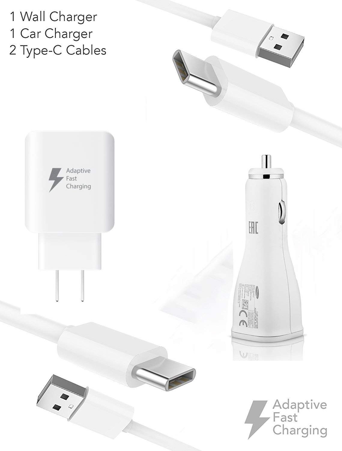 Quick Adaptive Turbo 18W Wall & Car Dual-Port USB Kit works for Samsung Galaxy Note 10+ with (2) USB Type-C Cables! by Volt Plus Tech