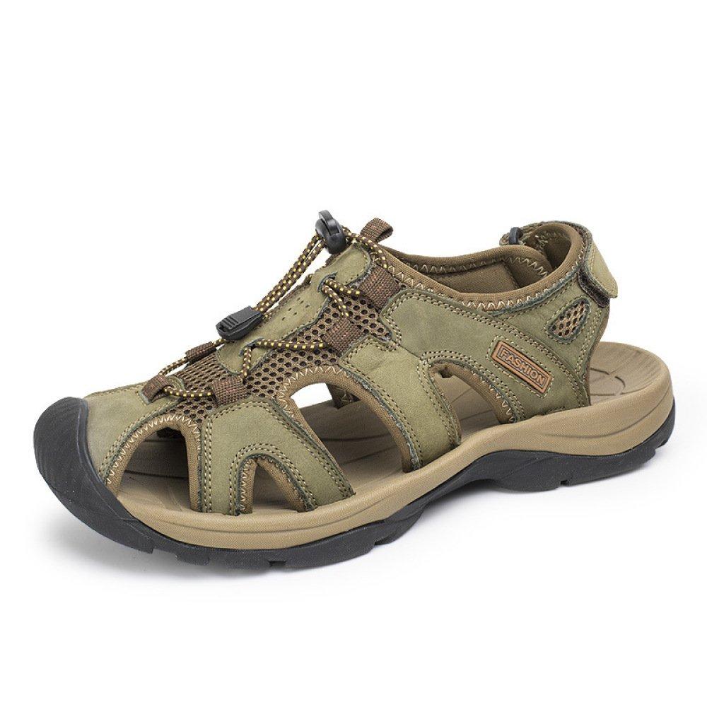 Herren Leder Sommer Sandalen aus Echtem Leder Herren Outdoor Schuhe Schuhe Strand Sandalen Sport Casual Sandalen Trekking Schuhe Grün f466bb