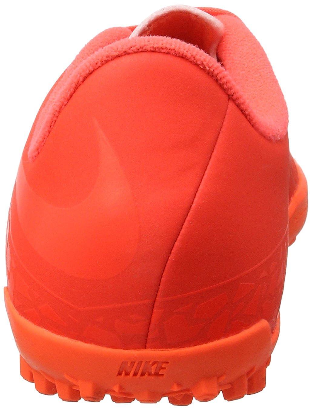 Toddler//Little Kid//Big Kid 4.5 Big Kid, Bright Crimson//Hyper Orange//Total Crimson Nike Kids Jr Hypervenom Phelon II TF Soccer