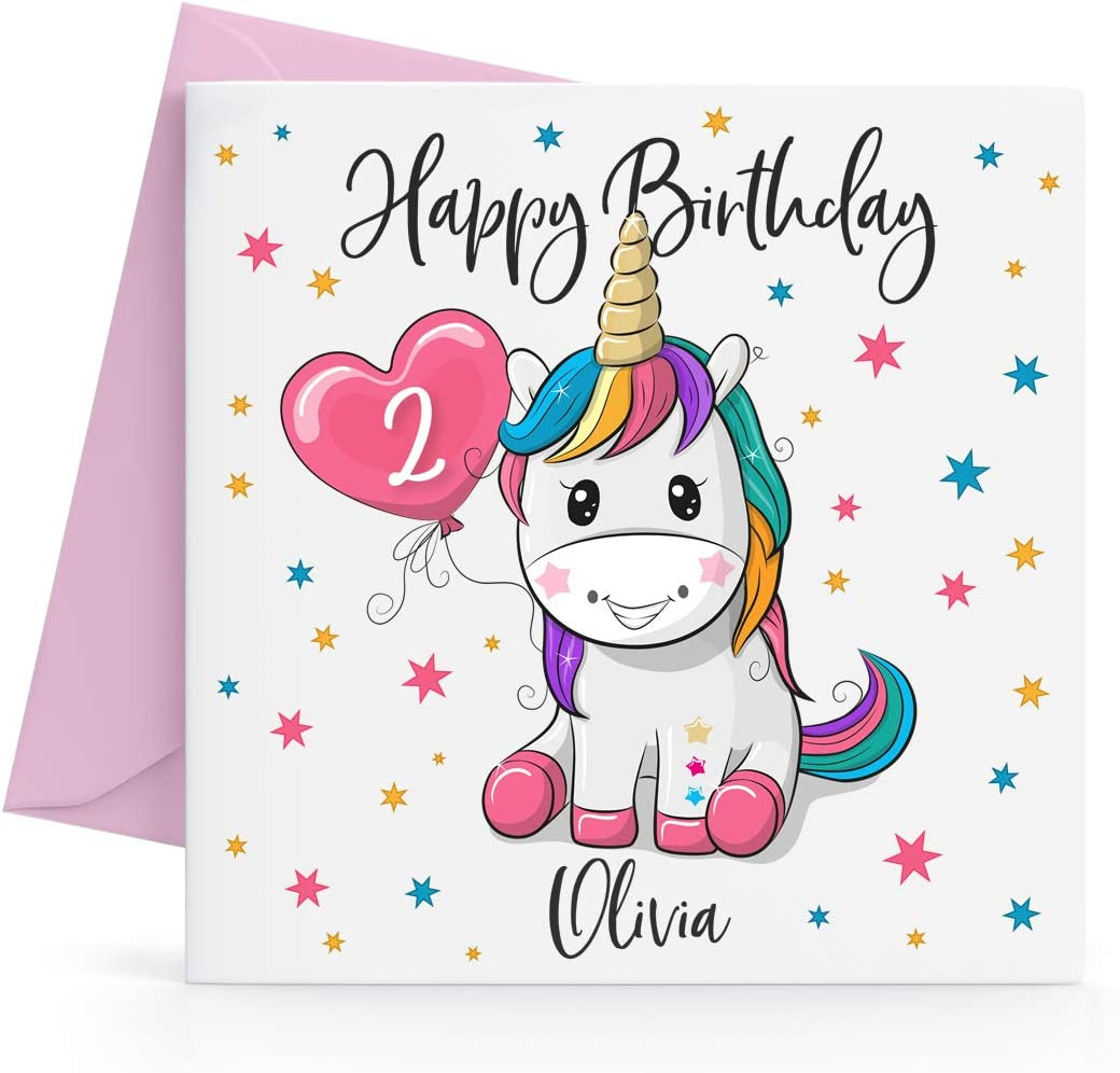 Tremendous Personalised Girls Unicorn Birthday Card Any Age Name Amazon Co Funny Birthday Cards Online Sheoxdamsfinfo