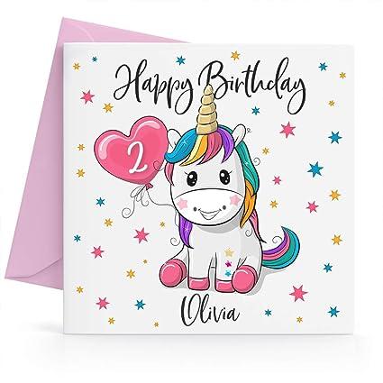 Tarjeta de cumpleaños personalizable con diseño de unicornio ...