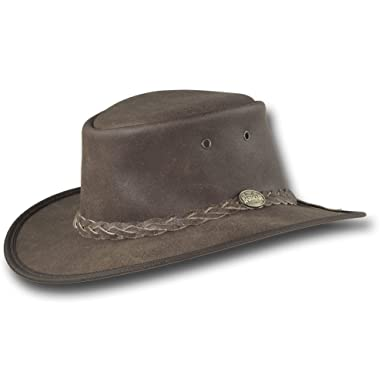 Amazon.com  Barmah Hats Foldaway Crackle Saddler Leather Hat 1063BR ... 71a4ebb0047