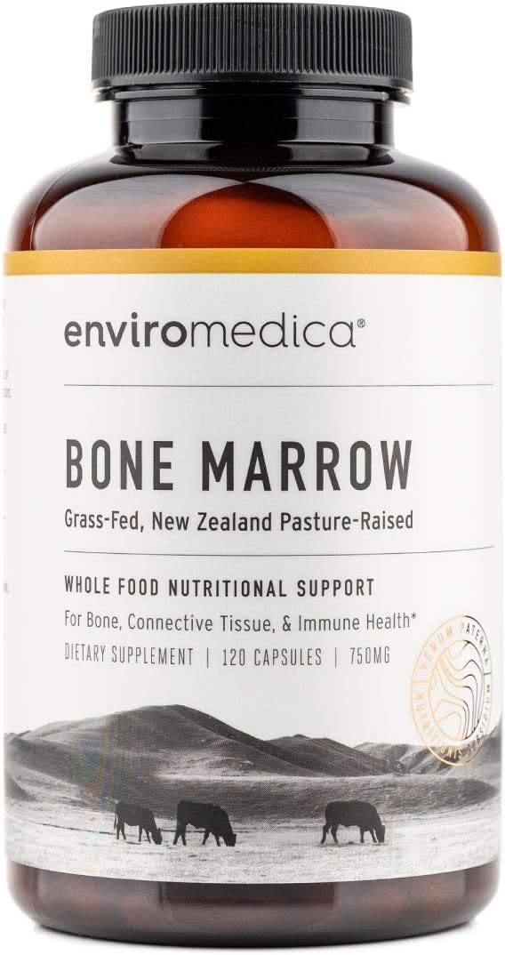 Enviromedica Freeze-Dried Bone Marrow Complex with Cartilage and MCHA Whole Bone from Grass-Fed Pastured New Zealand Bovine (120ct)