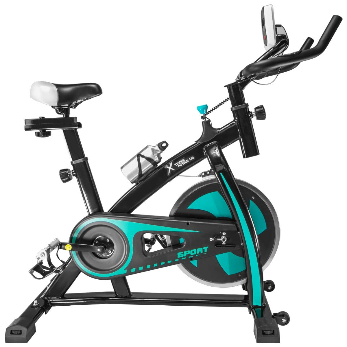 XtremepowerUS Indoor Cycle Trainer Fitness Bicycle Stationary Exercise Bikes LED with Water Bottle Heart Pulse (Black and Aqua)