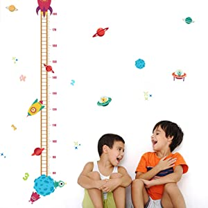 Jaxbo Kids Height Growth Chart - Spaceship Child Height Wall Sticker Height Measurement Chart for Kids Toddlers and Babies Room Bedroom Living Room Wall Decal Decoration