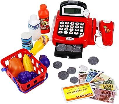 yoptote Caja Registradora Juguetes Supermercado Infantil Mercado Juguete Alimentos Juguetes Educación Calculo con Micrófono y Iluminar para Niño de 3 Años+ (Rojo): Amazon.es: Juguetes y juegos