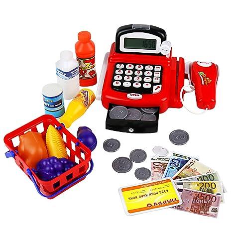 yoptote Spielzeug Kasse mit Scanner Rollenspiel Spielkasse Supermarktkasse Elektronische Kasse Inklusive Zubehör für 3 4 5 Ja