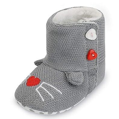 2990e9e85db37 Angelof Chaud Botte De Coton - Ajouter Velours - Boutons Finition Chaussures  Confortables Fille GarçOn BéBé
