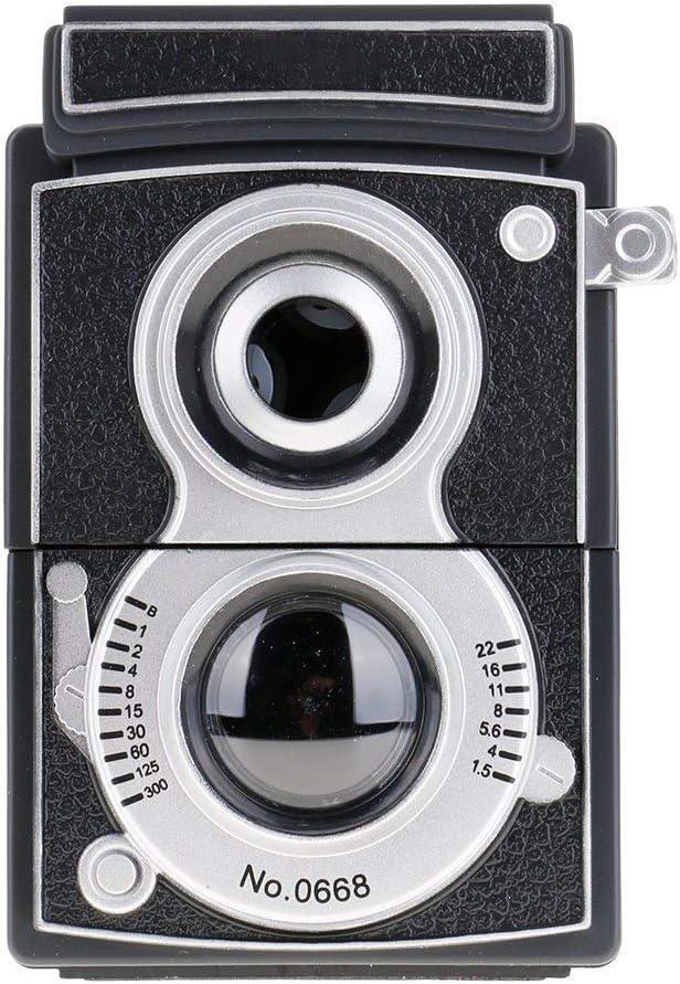 Estilo retro cámara sacapuntas ajustable lápiz rodillo de mano Manual Auto Stop sacapuntas (Negro): Amazon.es: Oficina y papelería