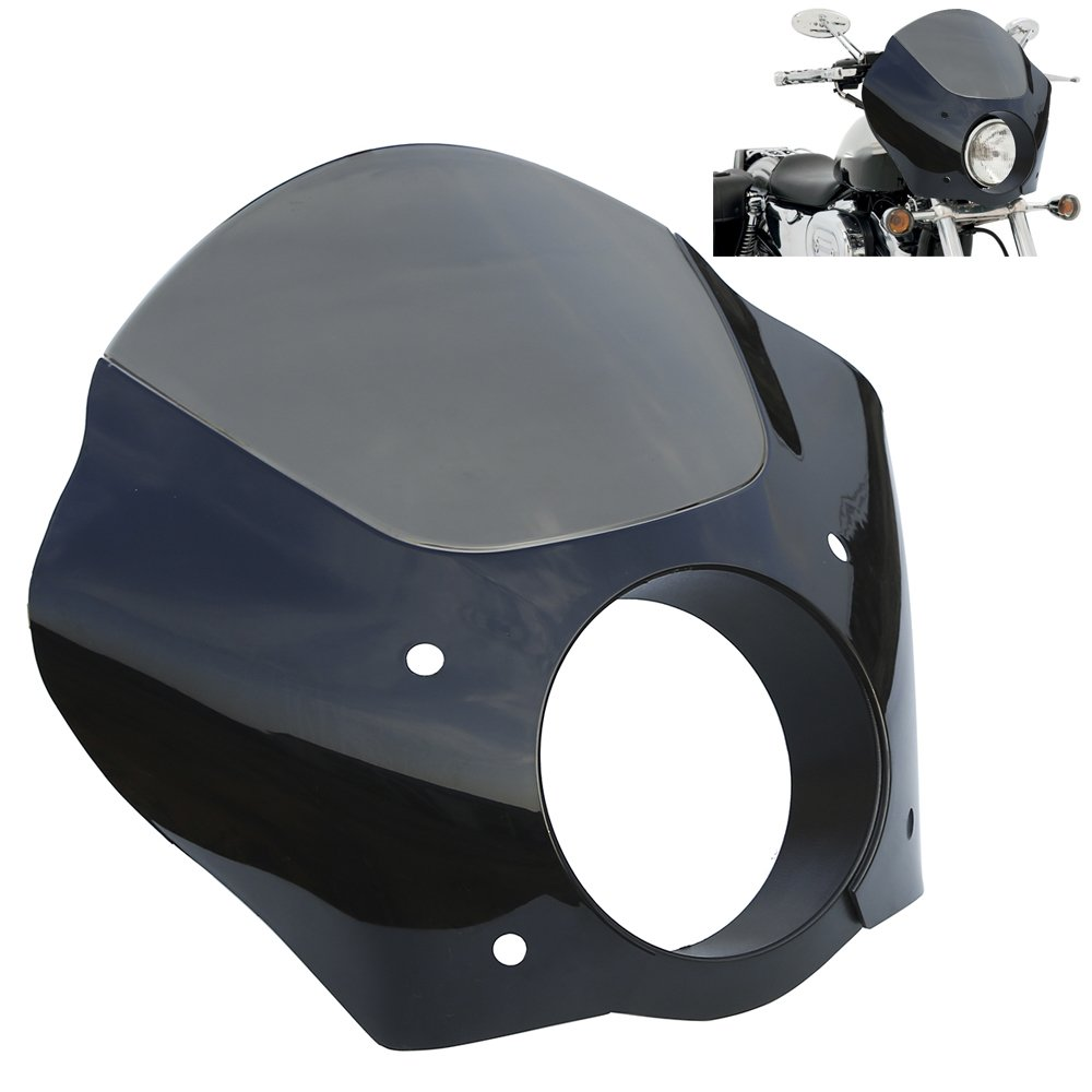 XMT-MOTO Headlight Fairing Shade Mask W/ Mount Bracket For 1988-later XL , 1986-1994 FXR and 1995-2005 Dyna models