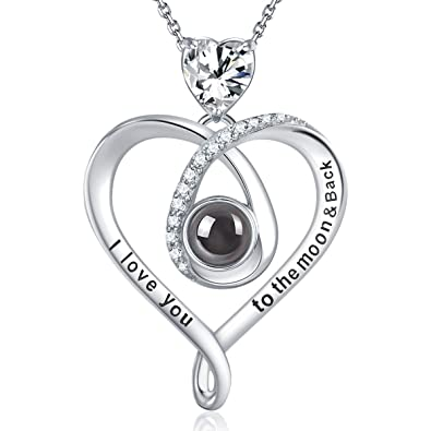 77b9f8db7e Elda&Co Jewelry for Women 100 Languages I Love You Sterling Silver Necklace  Gifts for Birthday Mothers