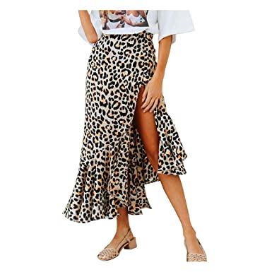 Exquisito Sexy Cottage Fashion Leopard Mid-Calf Falda Mujeres ...