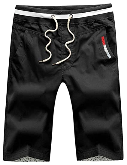 4430ce4a9e Image Unavailable. Image not available for. Color: Cruiize Mens Summer Flat  Front Drawstring Straight Pocket Cargo Shorts Black L
