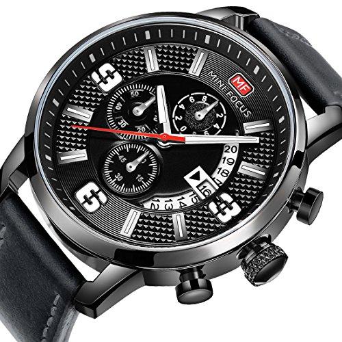 Mini Focus Men Business Watches with Leather Strap Fashion Quartz Analog Wristwatch for Men Gift (Mens Strap Leather Quartz)