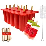 Popsicle Molds Food Grade Silicone Frozen, Frozen Popsicle Mold, Ice Pop Cream Maker, set of10, BPA Free, Includ 50 Wooden Sticks & Cleaning Brush