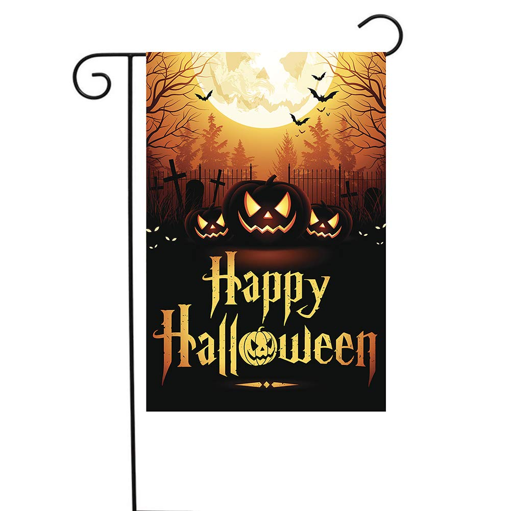 Amor Halloween Scary Moonlight Pumpkins Double-Sided Garden Flag, 12.5 x 18 Inch
