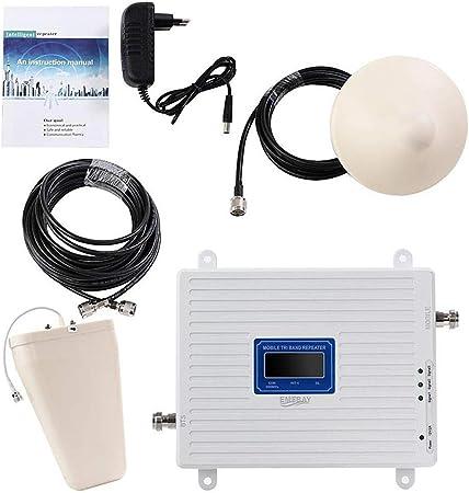 EMEBAY - Amplificadores de Señal Móvil Tri-Banda Repetidor 2G 900MHz 2100MHz LTE 1800MHz para Obtenga Llamadas Señal 3G y 4G en Su ...