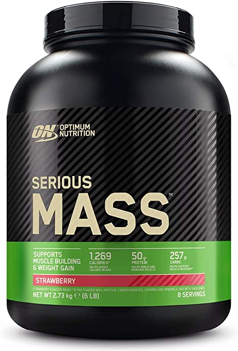 Optimum Nutrition Serious Mass Proteina en Polvo, Mass Gainer Alto en Proteína, con Vitaminas, Creatina y Glutamina, Fresa, 8 Porciones, 2,73kg, ...
