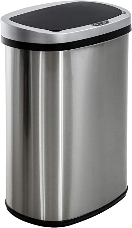 13 Gallon Sensor Garbage Can Kitchen With Lid Stainless Steel 50l Automatic Trash Can For Kitchen Office Bedroom Indoor Trash Bin Amazon Ca Patio Lawn Garden