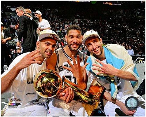 "Tony Parker, Tim Duncan, Manu Ginobili San Antonio Spurs 2014 NBA Champions Trophy Photo (Size: 8"" x 10"")"