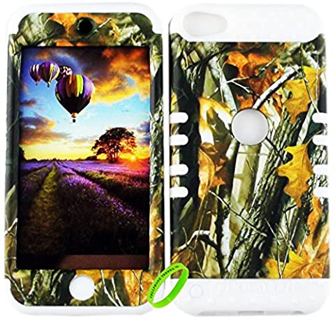 Apple iPod Touch 6 & 5th Generation Cellphone Trendz Dual Layer Soft Hard Hybrid Heavy Duty Protective Cover - Camo Real Hunter Series Mossy Oak Big Branch Tree Design on White (Real Tree Camo Case For Ipod 5)