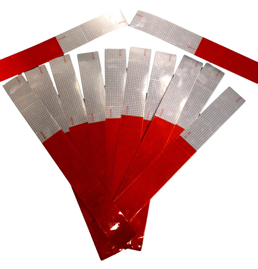 Reflective Tape-Red and White Strips-Premium Quality 8 mil Thickness-2'' x 18''-Reflexite Conspicuity V82 OEM Grade Tape, DOT-C2 Auto Stickers-Many to choose from-Made in the USA! (2'' x 18'' 12 Pack)