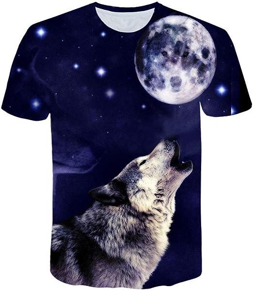 YX Camiseta Unisex con Estampado 3D Creative Summer Casual Hombre Mujer Creative Wolf Like Moon Camisetas Gráficas De Manga Corta Camisetas con Cuello Redondo Top Tees: Amazon.es: Hogar