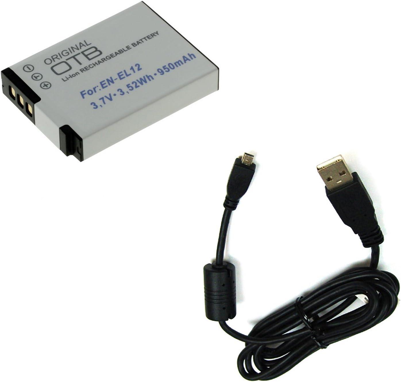 BG de akku24batería y cable de carga, cable de datos, cable USB para Nikon Coolpix S6200, S6300, S6500, S6600, S8000, S8200, S9200, S9300, S9400, S9500
