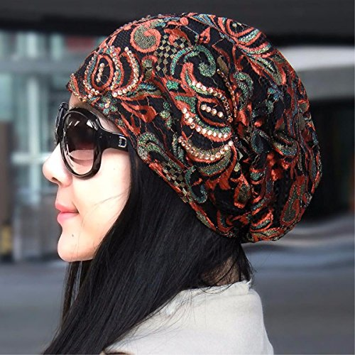 XINQING-MZ Hat female spring and summer seasons cap brilliant lace scarf cap storehouse Cap Air Conditioning cap bald cap on the cap of the storehouse Brown