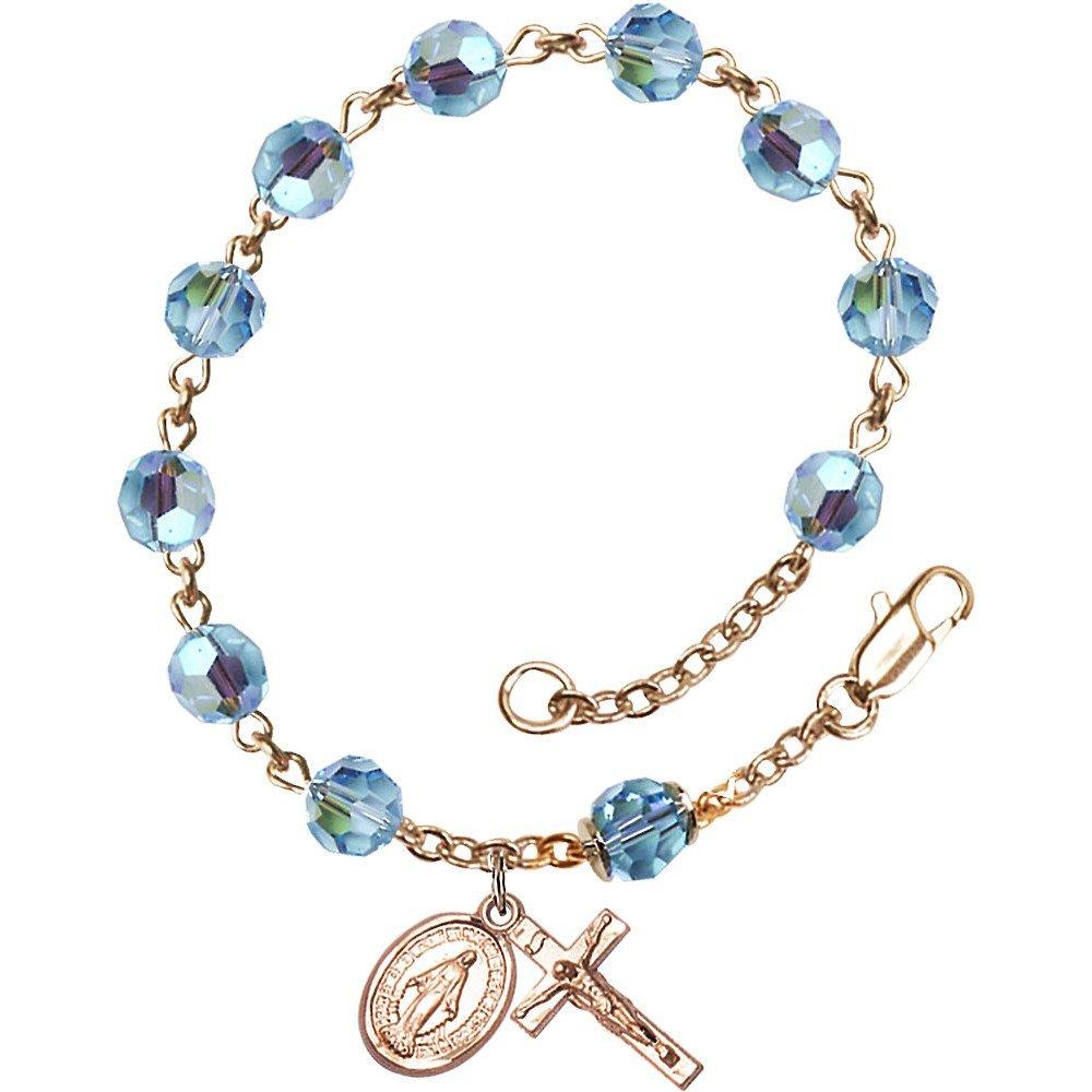 14k Yellow Gold Filled Rosary Bracelet 6mm March Blue Swarovski Austrian Tin Cut Aurora Borealis Beads Crucifix sz 5/8 x 1/4. by Bonyak Jewelry (Image #1)