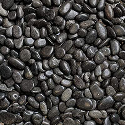 "Midwest Hearth Natural Decorative Polished Black Pebbles 3/8"" Gravel Size"