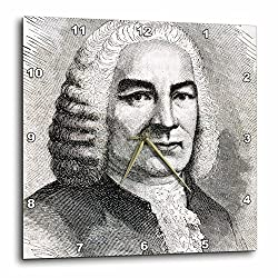 3dRose DPP_83019_2 Engraving of Bach, German Composer, Historical Art HI12 PRI0216 Prism Wall Clock, 13 by 13-Inch
