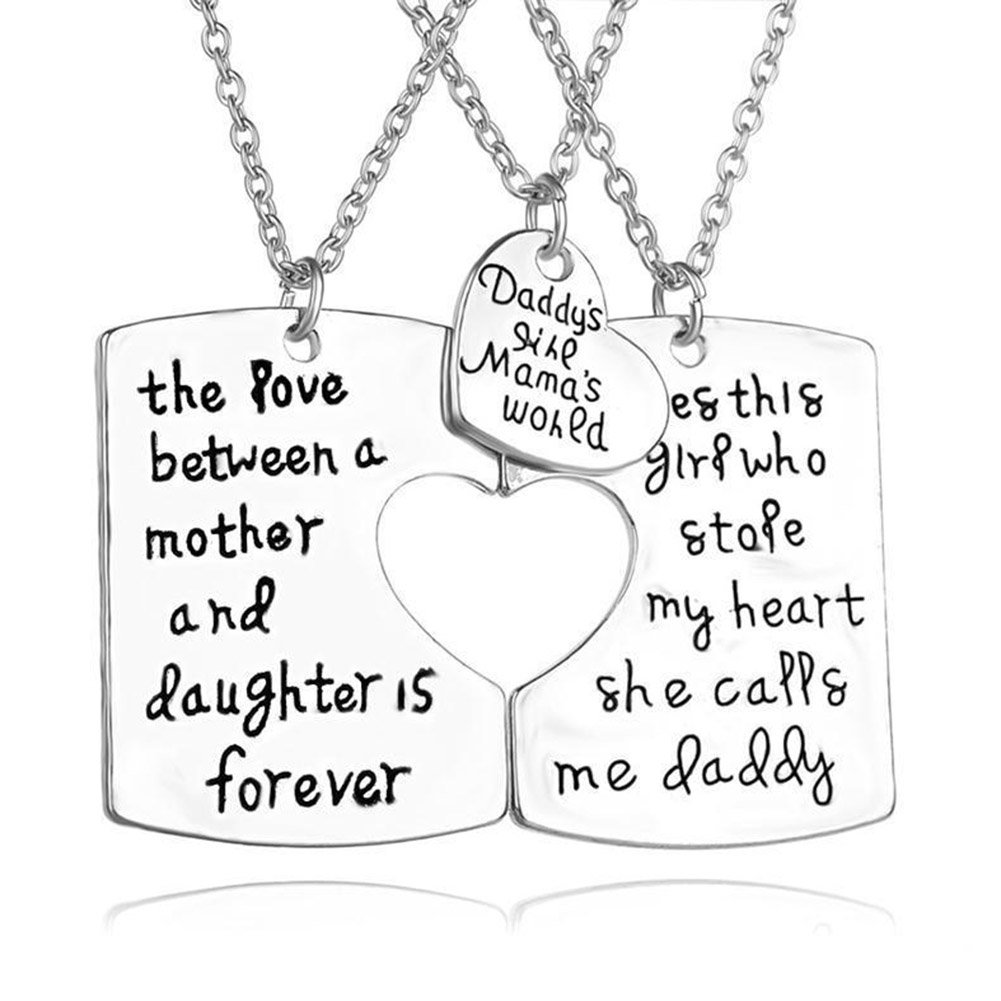 3 Piece Mother Father Daughter Heart Pendant Necklace Set,Daddy's Girl Mommy's World,Family jewelry Necklace Set JiangYan-US JY-NL-01-01-0072