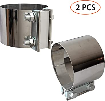 """Stainless Butt Joint Exhaust Clamp Sleeve Band For Chevy  3/"""" Exhaust OD Pipe"""